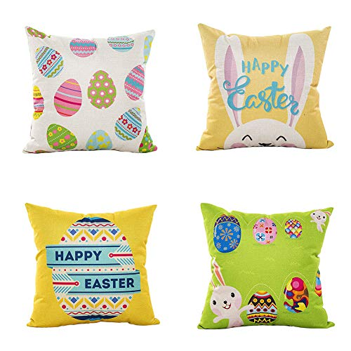 LEIOH Happy Easter Rabbit and Easter Eggs Pillow Covers Set of 4 Sofa Home Decor Bunny Throw Pillow Case Cushion Covers 18 X 18 Inch