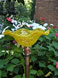 Spotted Yellow Hand Blown Glass Butterfly Feeder with 36'' Copper Stake