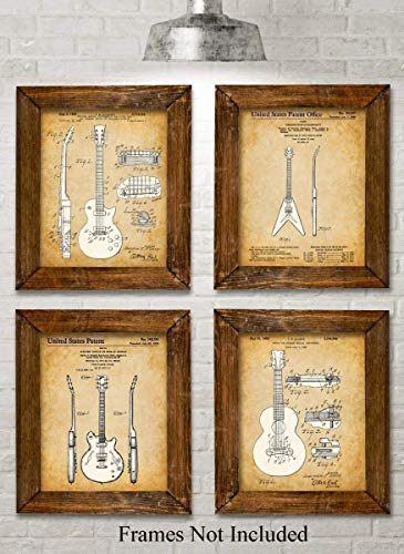 Original Gibson Guitars Patent Art Prints - Set of Four Photos (8x10) Unframed - Great Gift for Guitar - Gibson String 8