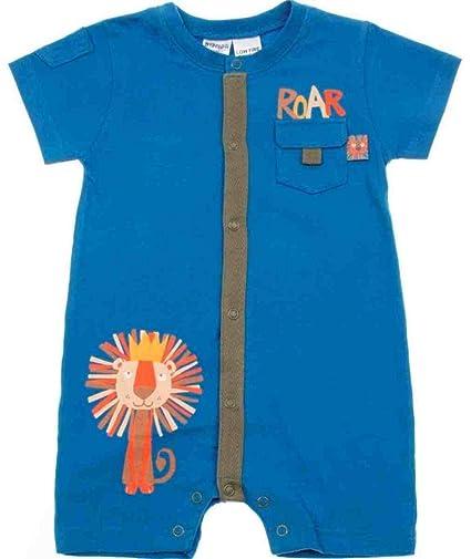 Bright Bots rugido Pelele de manga corta para niños – azul azul azul Talla:0