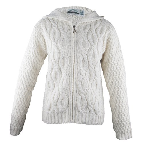 100% Irish Merino Wool Ladies Hooded Aran Zip Sweater by West End Knitwear,Natural,Large