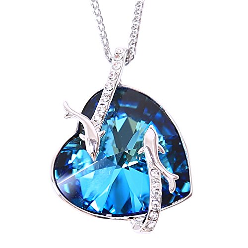 Turantu ♥ Gift for Women♥ Heart of The Ocean Dolphin Pendant Necklace Made with Swarovski Crystal ()