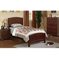 Wooden Twin Bed in Walnut Finish #PD F91207