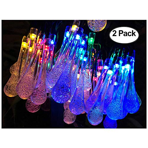 Lemontec Solar String Lights 20 Feet 30 LED Water Drop Solar Fairy Waterproof Lights for Garden, Patio, Yard, Home, Parties, Multi Color -