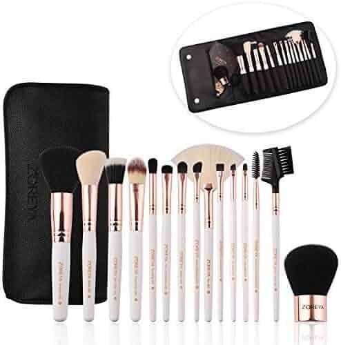 ZOREYA Makeup Brushes Premium Luxury 15pc Rose Gold Make Up Brushes Set With Professional Easy Travel Vegan Leather Makeup Brush Set Case Bag Organizer Kit with Eyebrow Eyeshadow Kabuki