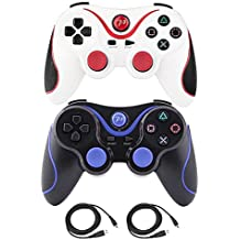 Kepisa Wireless Bluetooth Controllers For PS3 Playstation 3 Double Shock - Bundled with USB charge cord (WhiteRed and BlackBlue)