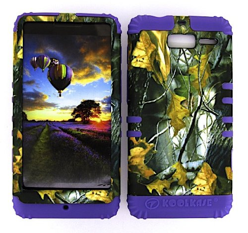 a Droid RAZR M XT907 Hard Light Purple Skin+Camo Leaves Snap (Motorola Razr Snap Cases)