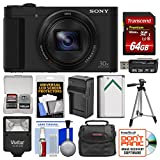 Sony Cyber-Shot DSC-HX80 Wi-Fi Digital Camera with 64GB Card + Case + Flash + Battery & Charger + Tripod + Kit