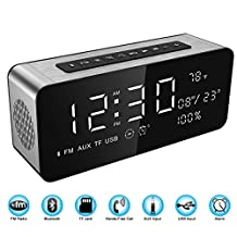 Soundance Large Screen Radio Alarm Clock Bluetooth Speaker with premium HD sound & big LED screen for time/date/temperature 3.5mm Aux/Micro SD/TF/ USB Input Model A10 Silver Aluminum Frame