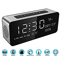 Soundance 12W Radio Alarm Clock Bluetooth Speaker with HD sound 9.4 LED display of time/date/temperature, AUX/TF/ Micro SD/ USB input iphone android wireless portable Model A10 Silver frame