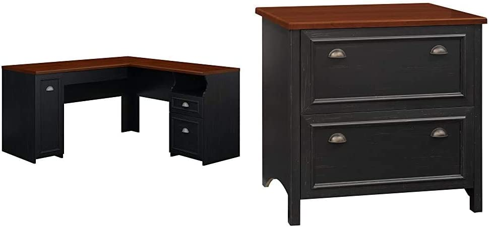Bush Furniture Fairview L Shaped Desk in Antique Black & Stanford 2 Drawer Lateral File Cabinet in Antique Black and Hansen Cherry