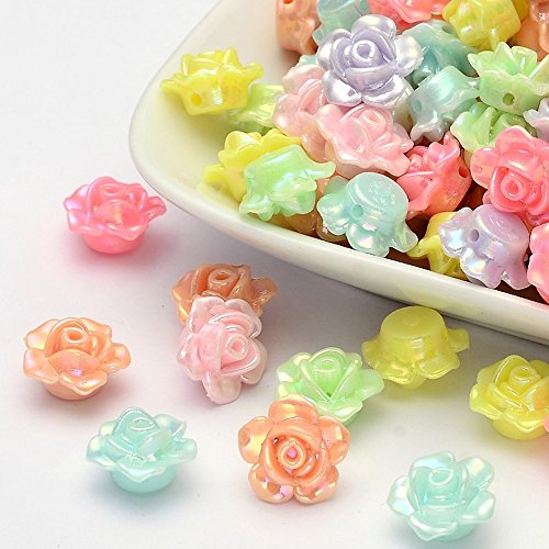 AMZ Beads Wholesale lot 12mm Acrylic Iridescent Assorted Pastel Color Flower Rose Beads (100)