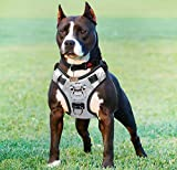 Babyltrl Silver Big Dog Harness No-Pull Anti-Tear Adjustable Pet Harness Reflective Oxford Material Soft Vest for Large Dogs Easy Control Harness (Medium, Silver)
