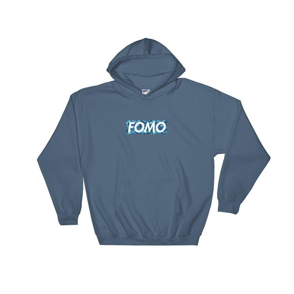 Crypto Whale Clothing FOMO Blue Camo Box Hoodie