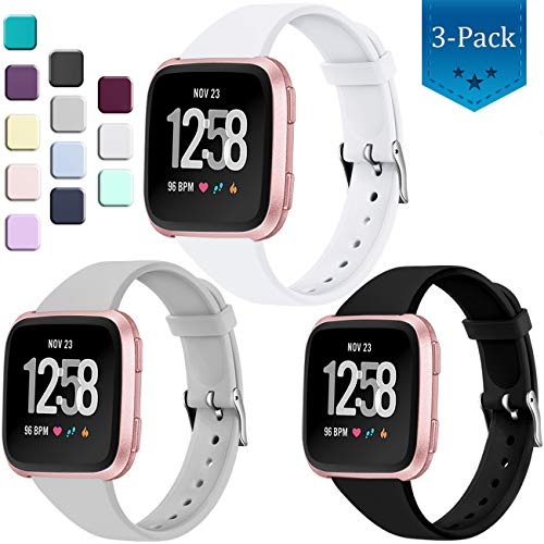 Wepro Bands Compatible with Fitbit Versa SmartWatch, Versa 2 and Versa Lite SE Watch, Soft Silicone Slim Band Replacement Wristband Straps for Women Men, 3-Pack, Small, Black White State Gary