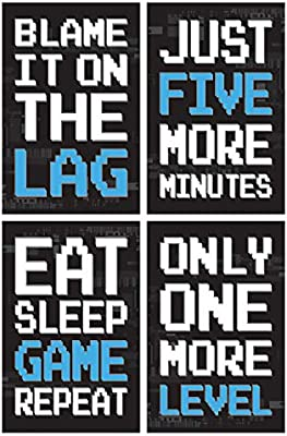 Game Posters, Set of 4, 11x17 Inches, Gaming Artwork, Video
