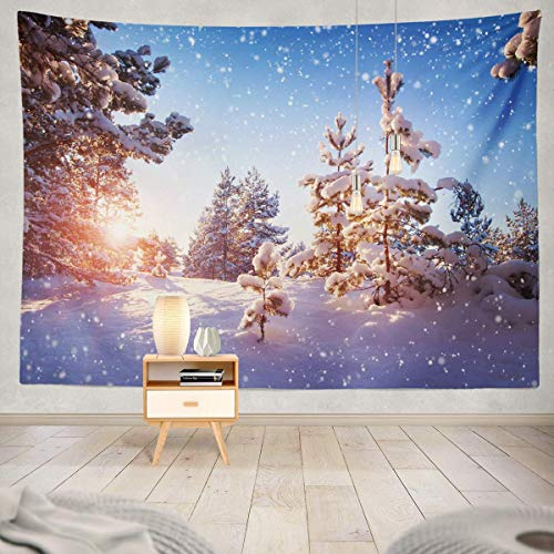 redhearty Exotic Pick Nick Blanket,Table Cloth Beautiful Tree Winter Landscape Evening Snowfall Wonderland Wall Hanging Tapestry Eco-Friendly décor 60X50 inch -