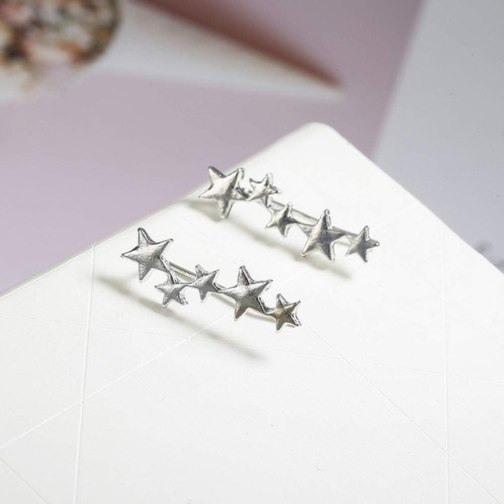 SSEHXL Pendientes Tiny Cute Stud Pendientes Moda Oro Plata Color Estrella Diseño Oreja Joyas Pendientes de Cristal Regalo para el Amigo