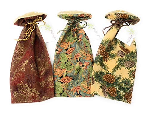 """(Autumn Leaves Motif - Reusable Fabric Drawstring Gift Bag   Eco-Friendly Alternative to Paper Giftwrap for Wine Bottle   Christmas Holidays   Cotton Cloth, Fully-Lined Lamé, 13.25""""x6"""