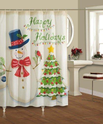 Happy Holidays Christmas Themed Shower Curtain