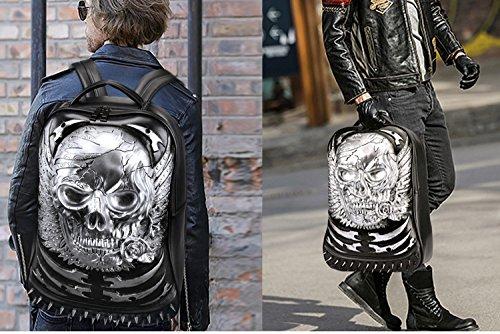 Egoelife PU Leather 3D Skull Backpack Multipurpose Hiking Daypack School Laptop Bag (Gold) by Egoelife (Image #7)