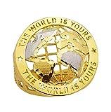 AMZ Jewelry 10K Yellow Gold World Globe Ring Mens World Map Ring