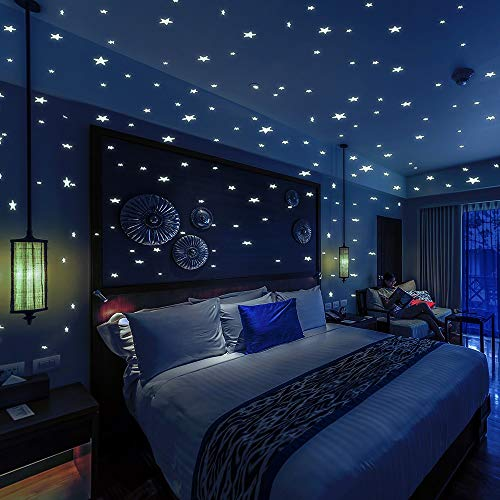 BOLLEPO Glow in The Dark Stars and Dots 332 3D Wall Stickers for Kids Bedroom and Room Ceiling Gift Beautiful Glowing Wall Decals + Stars Constellations Guide (Glow In The Dark Constellations For Ceiling)