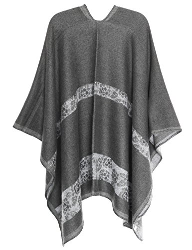 17 Open Poncho Front MissShorthair Cape Printed Color Fashionable Women's Shawl Wrap qnpwzFx
