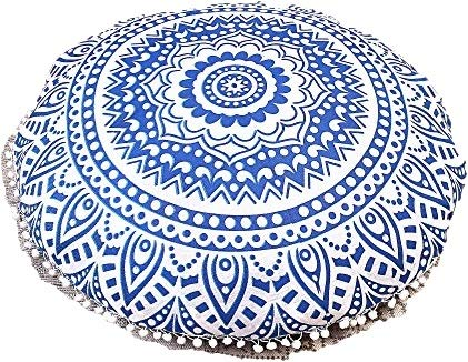 Giant Floor Cushion - Gokul Handloom Indian Large Mandala Floor Pillow Comfortable Home Car Bed Sofa Large Mandala Floor Pillows Round Bohemian Meditation Cushion Cover Ottoman Pouf Cover