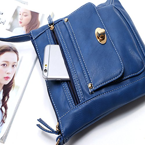Satchel Leather Bag Shoulder Messenger Hobo Women Blue 2016 Handbag Bag Egmy New xqZvw4gx
