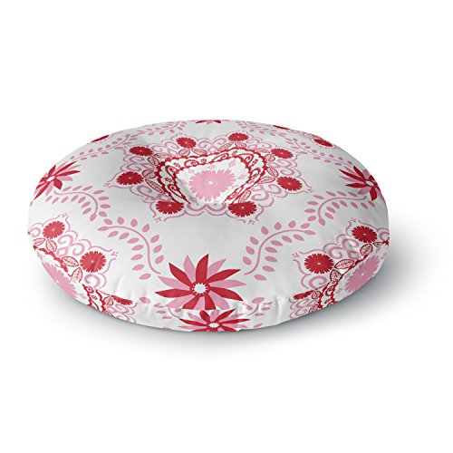 KESS InHouse Anneline Sophia Let's Dance Red Pink Floral Round Floor Pillow, 26'' by Kess InHouse