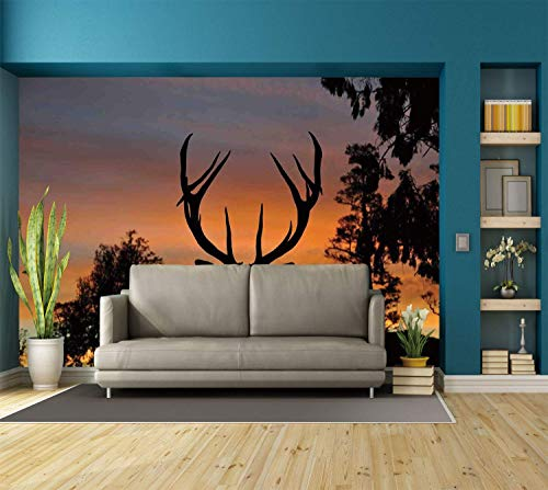SINOVAL Funky Wall Mural Sticker [ Antlers Decor,Black Deer Red Sky Background West Coast South Island New Zealand Nature Decorative, Self-Adhesive Vinyl Wallpaper/Removable Modern Decorating Wall Art -