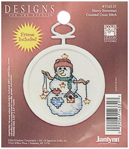 Janlynn 1143-31 18 Count Mini Counted Cross Stitch Kit, 2.5-Inch, Round, Starry Snowman (Snowman Starry)