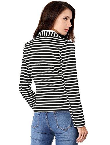 Allegra K Women's Notched Lapel Pocket Button Closure Striped Blazer 18