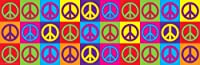 Peace Signs Color Collage Political Poster Print 12x36