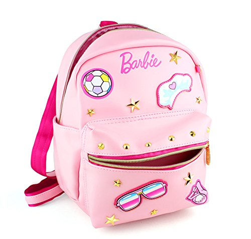 YOURNELO Girl's Pretty PU Leather Cute Rucksack Pre-school Backpack Bookbag (Barbie -