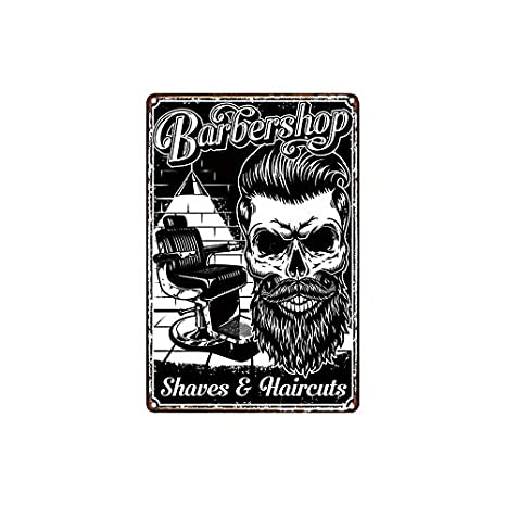 Amazon.com: Barbershop - Cartel de metal con diseño de ...
