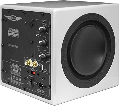 - Earthquake Sound MiniMe-P63 Compact 6.5-inch Powered Subwoofer with Dual Passive Radiators, Silver
