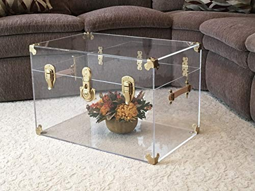 Flat-Top Clear Acrylic Trunk, 28 inches Wide x 18 inches deep x 16 inches high, Brass Hardware ()