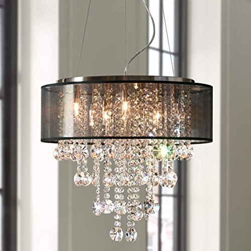 Nickel Crystal Brushed (Saint Mossi Brushed Nickel Modern K9 Crystal Chandelier Lighting LED Ceiling Light Fixture Pendant Lamp for Dining Room Bathroom Bedroom Livingroom 7G9 Bulbs Required H19 W22)