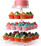 4 Tiers Maypole Square Acrylic Cupcake Display Stands, Wedding Clear Dessert Stand, Cupcake Tree Tower(With Base)