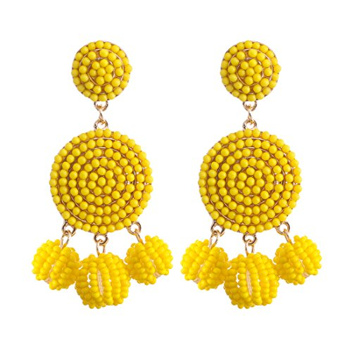 - ELEARD Beaded Earrings Elegant Soriee Dangle Bead Disc Bead 3 Ball Dangle Ear Drop Bead Tassel Earrings for Women Girl Light Yellow