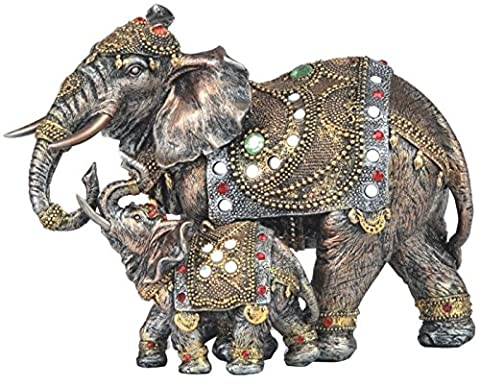 StealStreet SS-G-88147 Thai Mother And Baby Elephant Statues with Multicolor Gems, 8.25