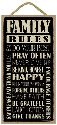 """Family Rules 5"""" x 10"""" wood sign plaque"""
