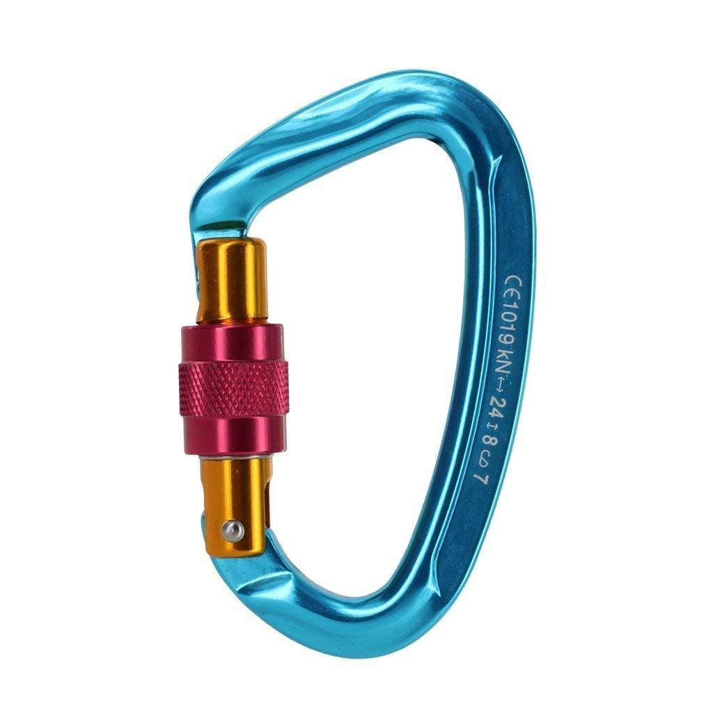 Naisidier moschettone tipo D Blu 1/Pacchetto moschettone bloccaggio a vite 24/kn attrezzatura di alpinismo arrampicata