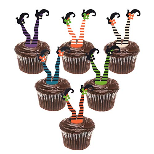 Cupcake Decorations For Halloween (Whaline 30 Pack Halloween Cupcake Toppers Witch Boot Paper Cupcake Decorations for Cupcake Dish Decoration Party)