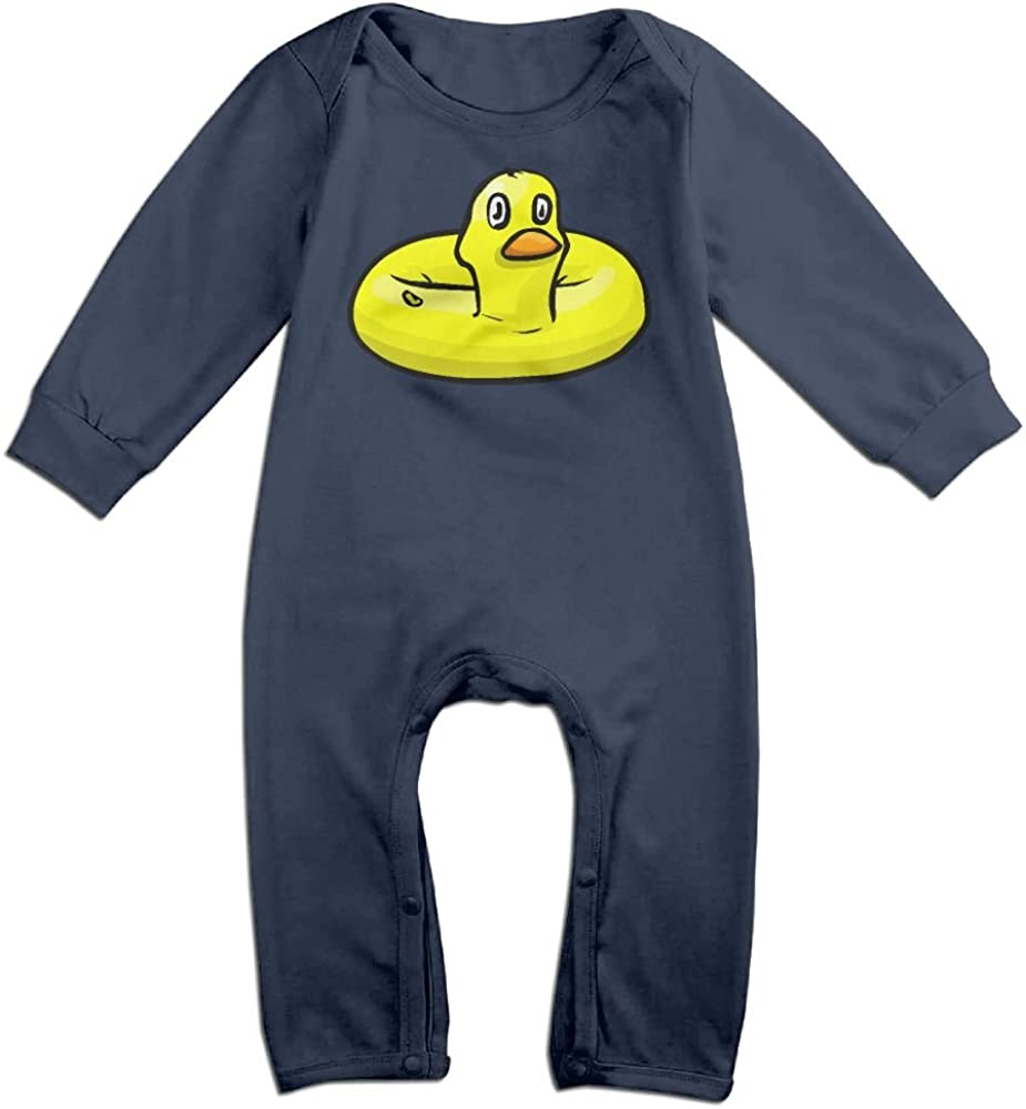 Mri-le1 Baby Boy Girl Long Sleeve Jumpsuit Yellow Duck Baby Rompers