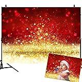 Mehofoto Christmas Photography Backdrops Glitter Gold Red Bokeh Background 7x5ft Shining Blur Spot Vinyl Backdrop Children Kids Adult Portrait Digital Photo Studio Prop Xmas Party Room Decor