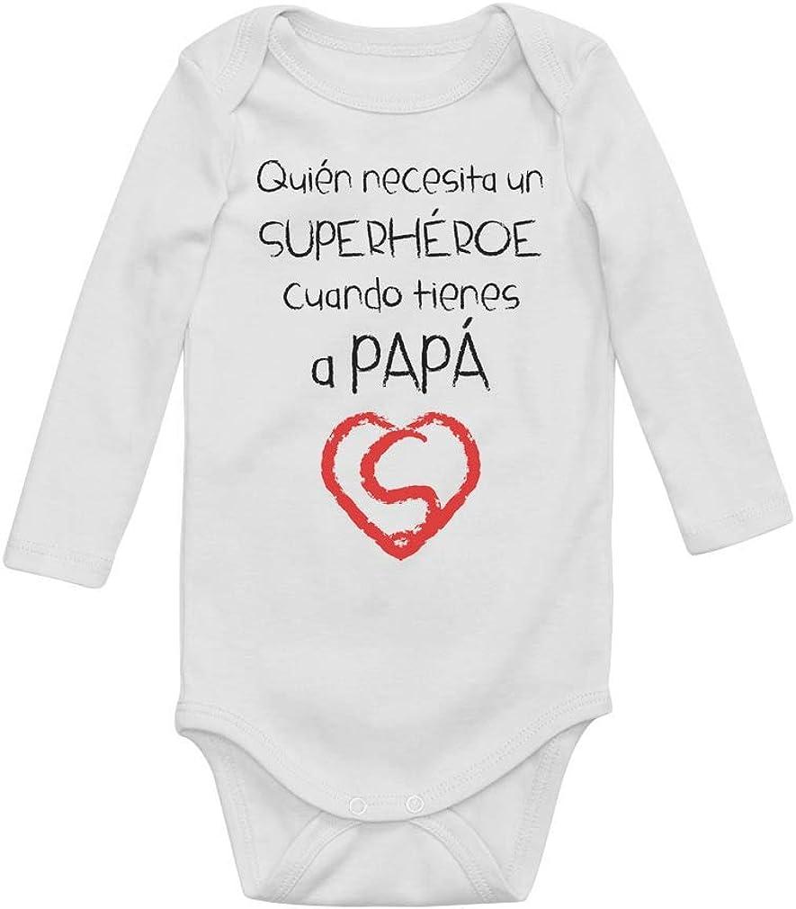 Body de Manga Larga para bebé - Regalo Dia del Padre Bebe - Papá Super Héroe