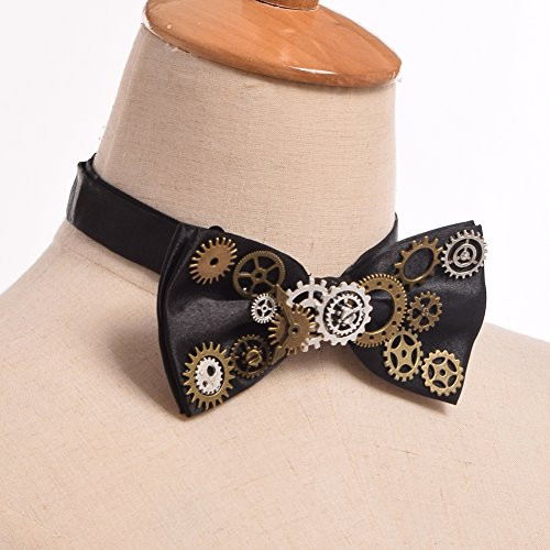 BLESSUME Unisex Punk Bow Tie Gothic Vintage Bow Tie Mens neckwear by BLESSUME (Image #1)